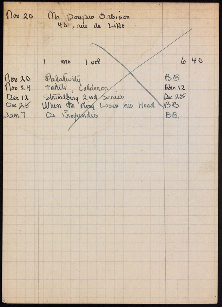 Douglas Orbison 1921 – 1922 card (large view)