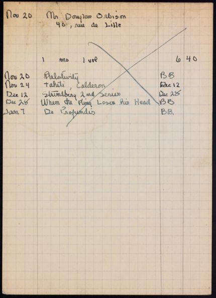 Douglas Orbison 1921 – 1922 card