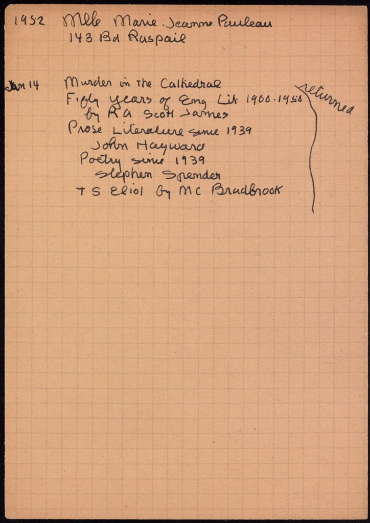 Marie-Jeanne Pauleau 1952 card (large view)
