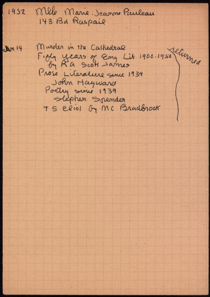 Marie-Jeanne Pauleau 1952 card