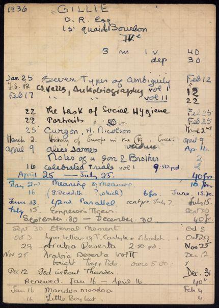 Darsie Rutherford Gillie 1936 – 1937 card