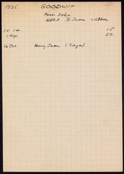 Mrs. John Goodwin 1935 card