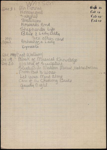 Captain Watson 1943 – 1944 card
