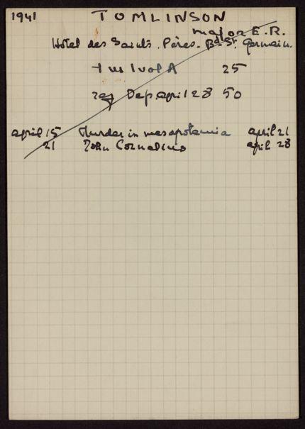 E. R. Tomlinson 1941 card