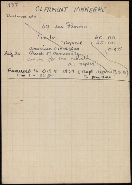 Élisabeth de Gramont 1937 – 1938 card