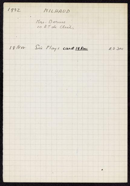 Madeleine Milhaud 1932 card