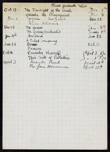 Gertrude Stein 1921 – 1922 card
