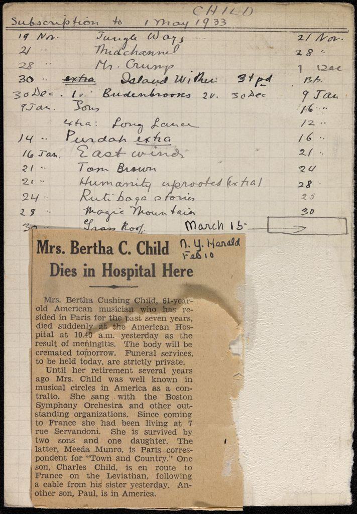 Bertha Cushing Child 1932 – 1933 card (large view)