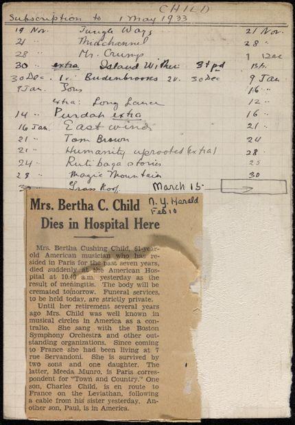 Bertha Cushing Child 1932 – 1933 card