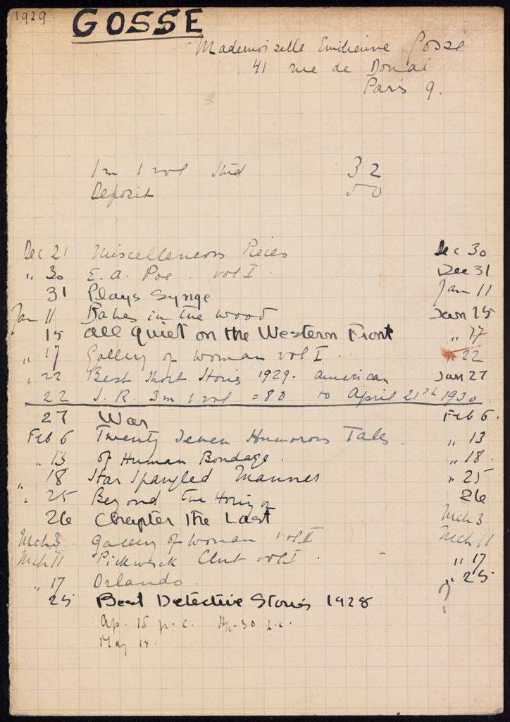 Emilienne Gosse 1929 – 1930 card (large view)