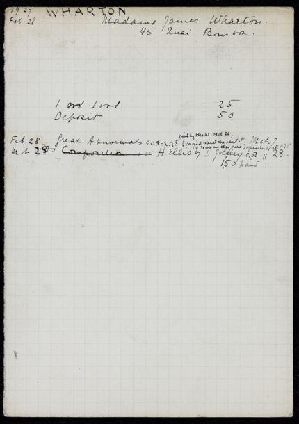 Mme James Wharton 1927 card