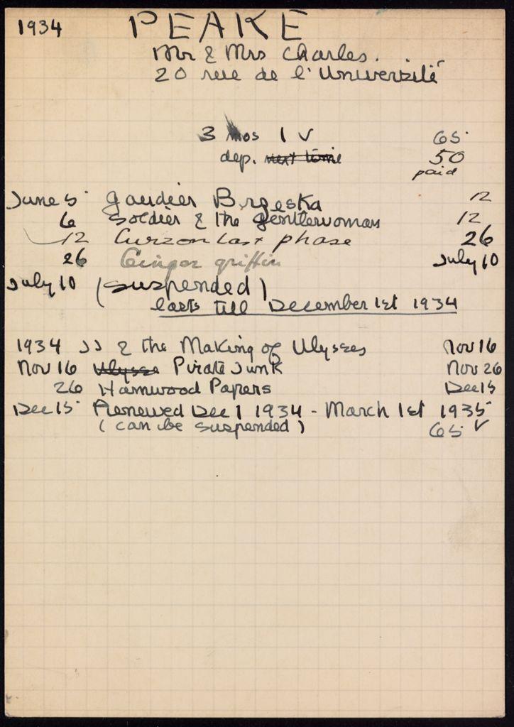 Mrs. Charles Peake 1934 – 1935 card (large view)