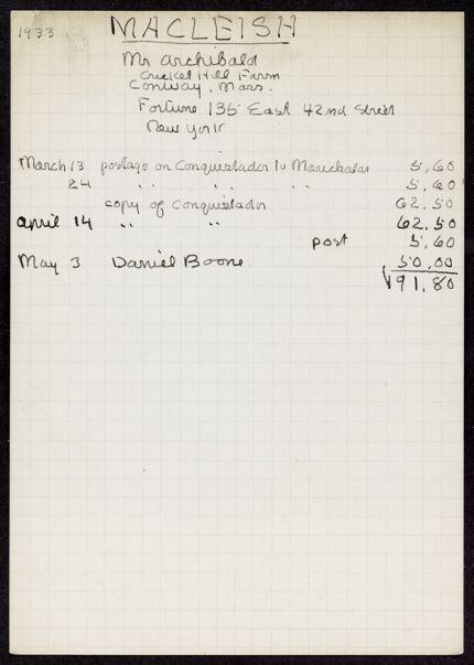 Ada MacLeish 1933 card