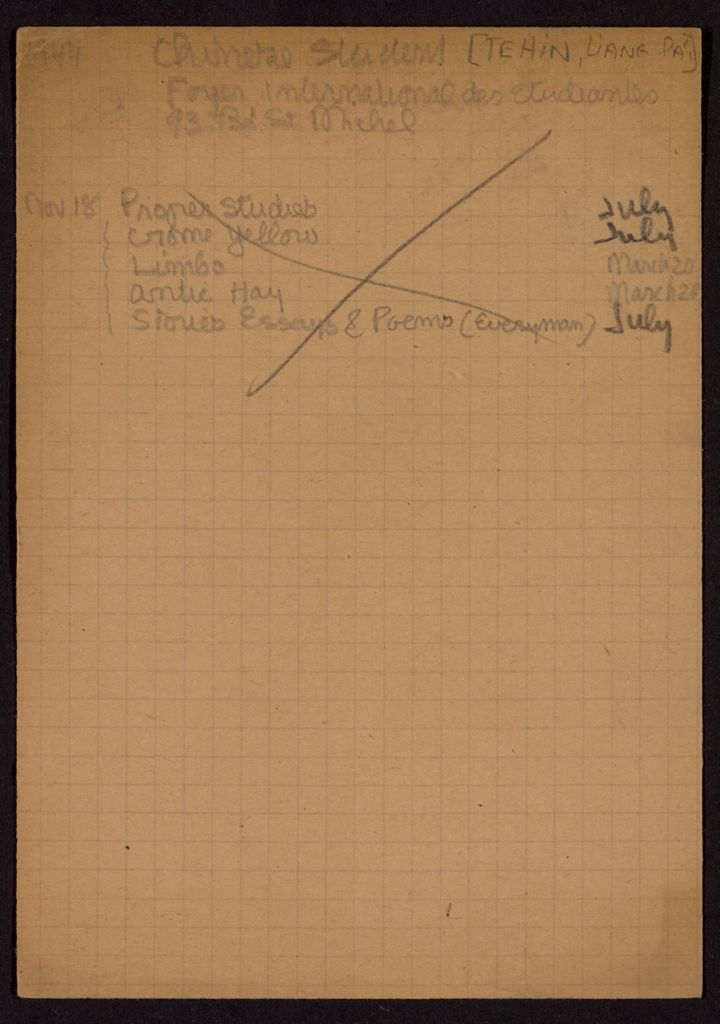 Liang Pa'i Tehin 1944 – 1945 card (large view)