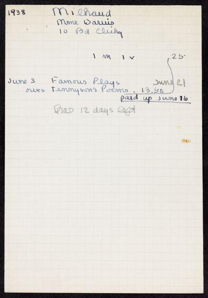 Madeleine Milhaud 1938 card