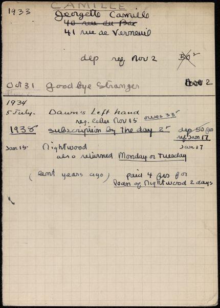 Georgette Camille 1933 – 1938 card