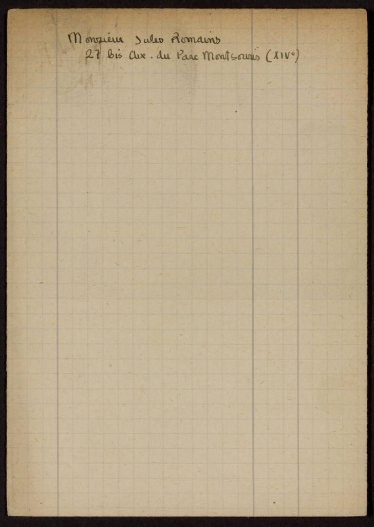 Jules Romains Blank card (large view)