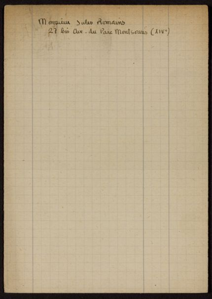 Jules Romains Blank card