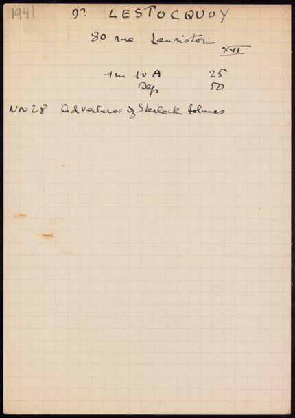 Bernard Lestocquoy 1941 card