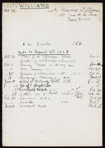 Marjorie Williams 1927 – 1928 card