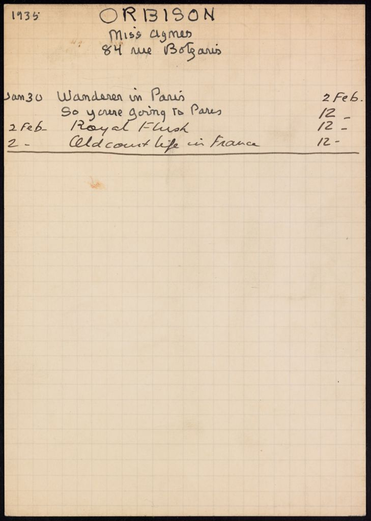 Agnes Orbison 1935 card (large view)