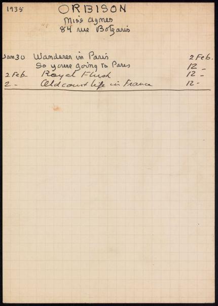 Agnes Orbison 1935 card