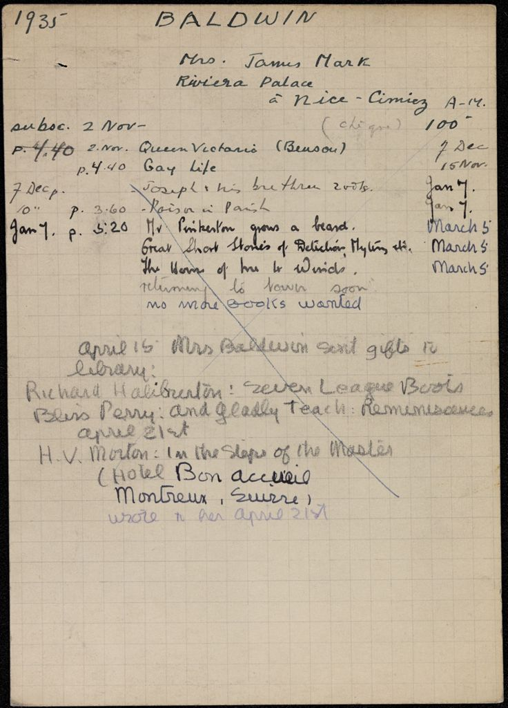Helen Baldwin 1935 – 1936 card (large view)