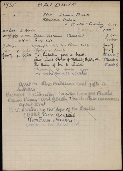 Helen Baldwin 1935 – 1936 card