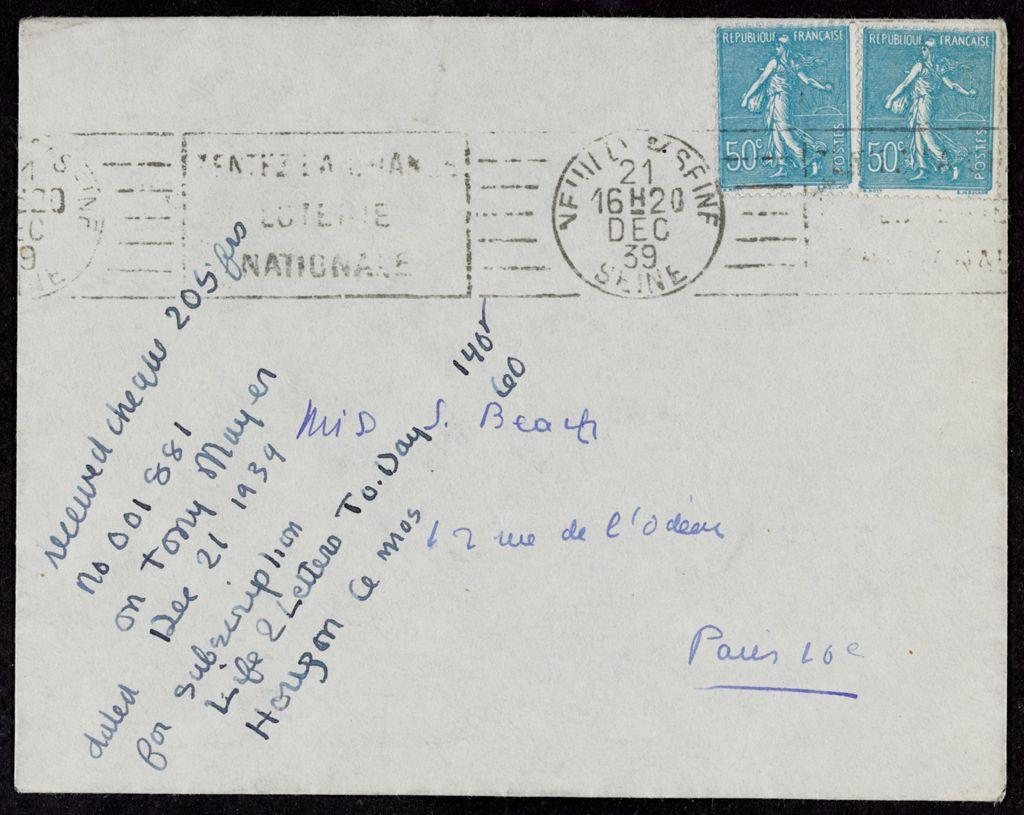 Thérèse Tony-Mayer 1939 card (large view)