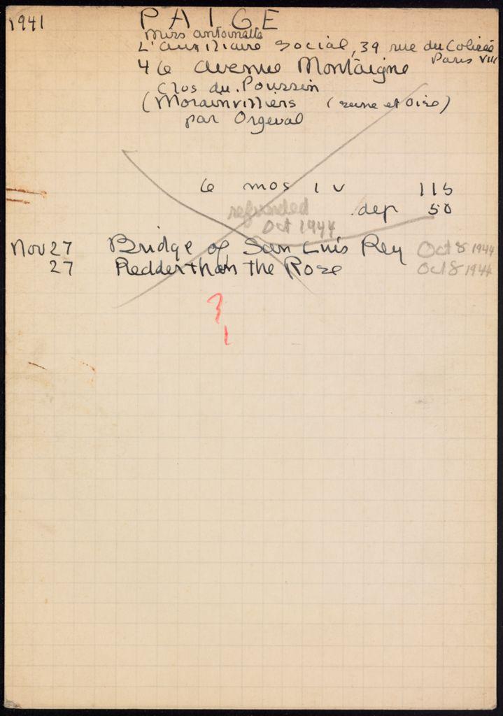 Antoinette Paige 1941 – 1944 card (large view)