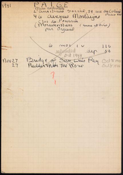 Antoinette Paige 1941 – 1944 card