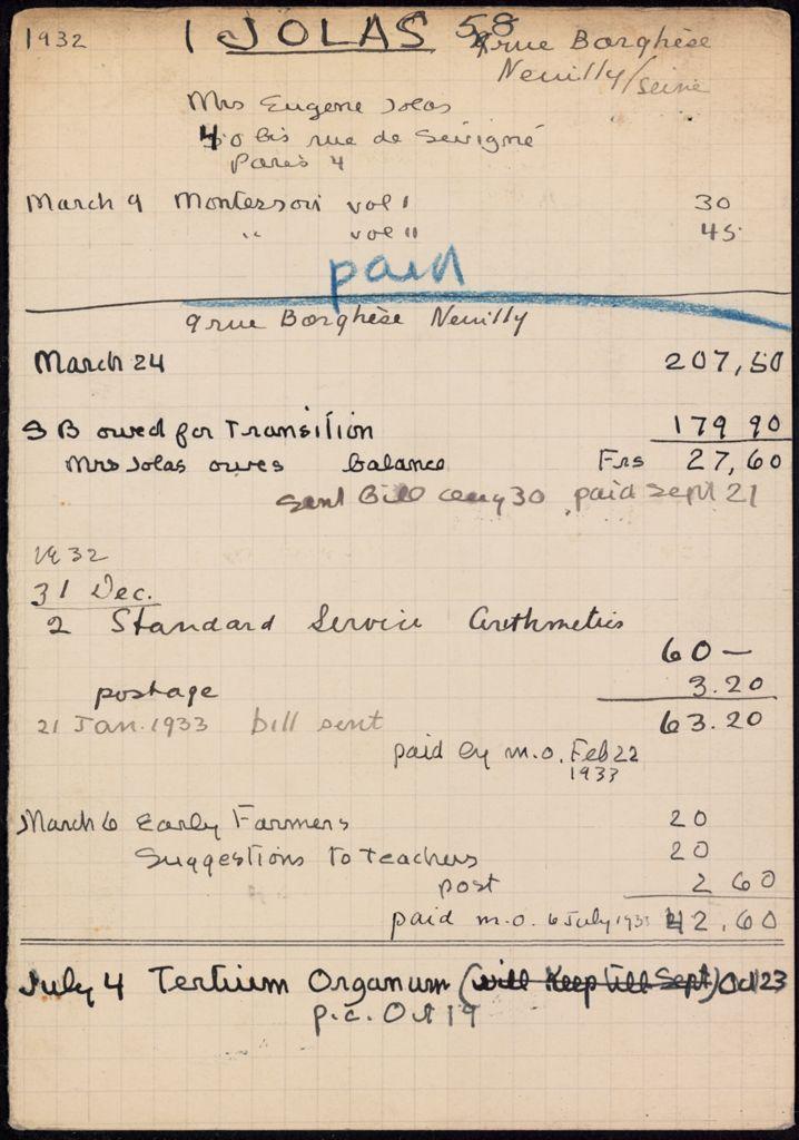 Maria Jolas 1932 – 1933 card (large view)