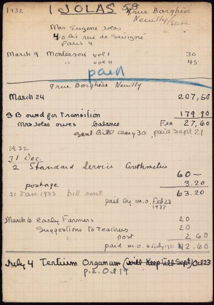 Maria Jolas 1932 – 1933 card