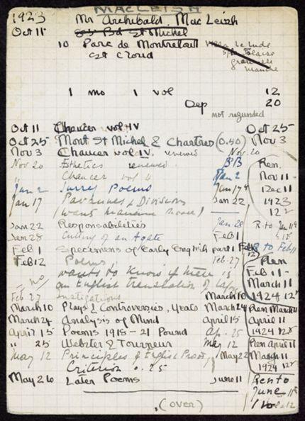 Archibald MacLeish 1923 – 1924 card