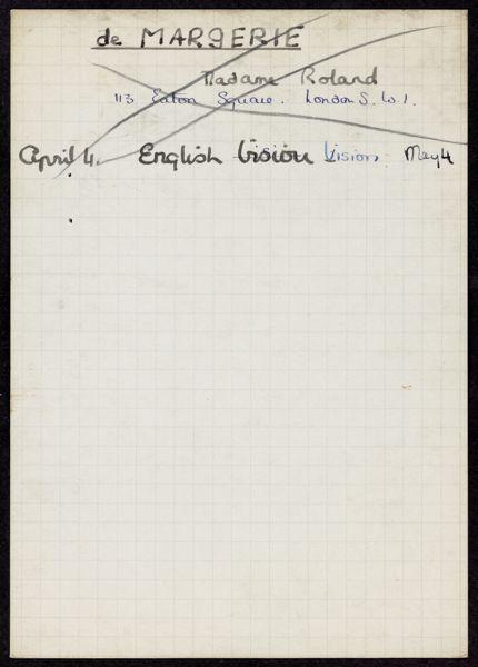 Henriette de Margerie 1940 card