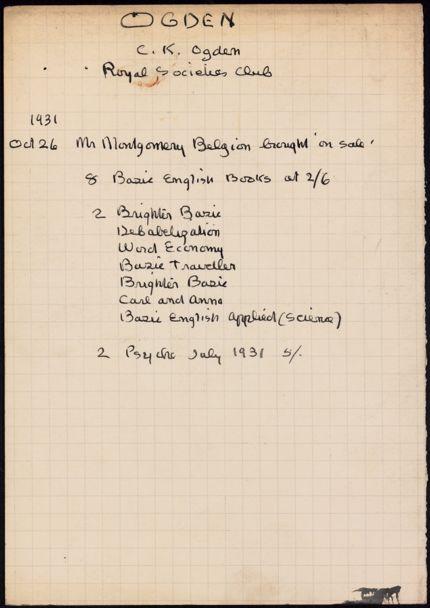 C. K. Ogden 1931 card