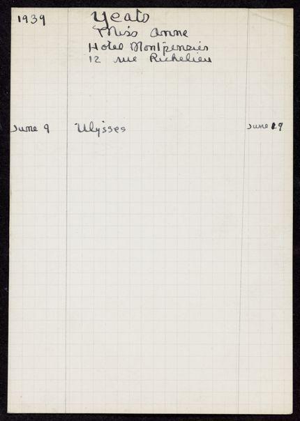 Anne Yeats 1939 card