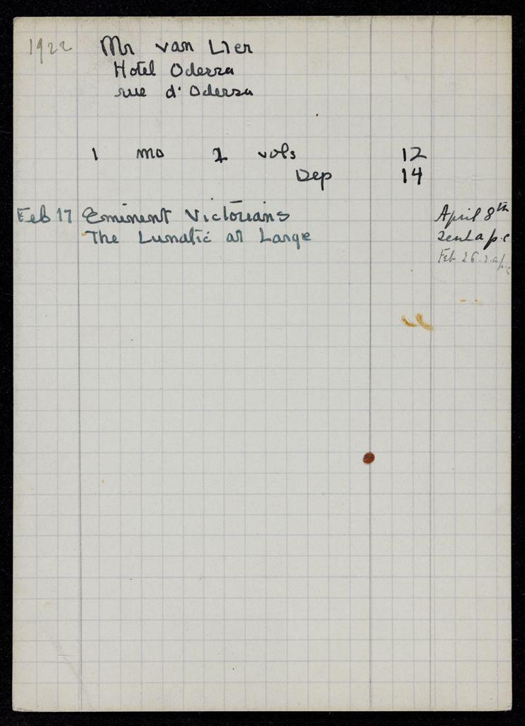 M. van Ller 1922 card (large view)