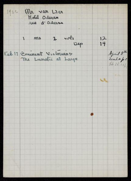 M. van Ller 1922 card