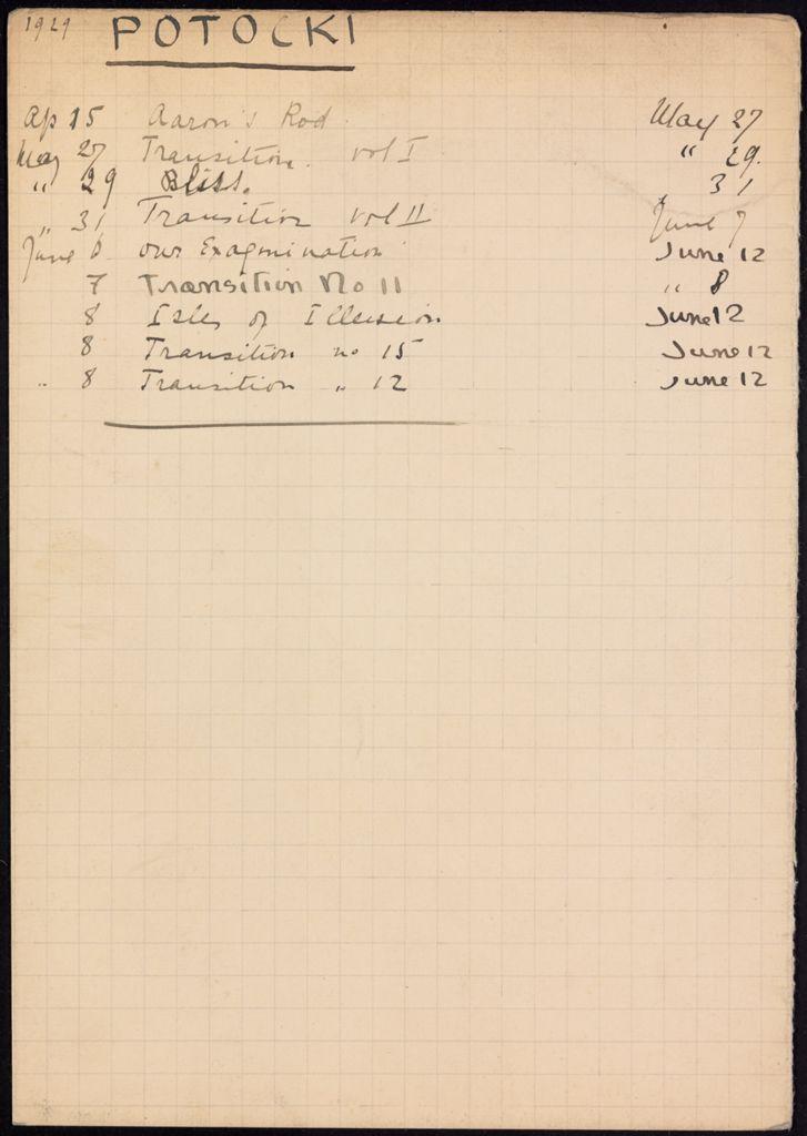 Geoffrey Potocki de Montalk 1929 card (large view)