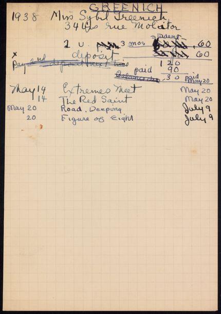 Sybil Greenich 1938 card