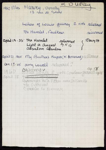 Dorothy Harvey 1952 – 1960 card