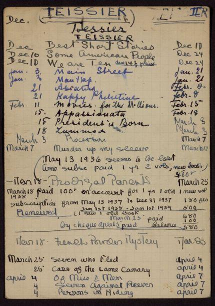 Jeanine Teissier 1937 – 1939 card