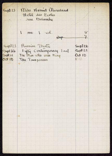 Harriet Marsland 1921 card