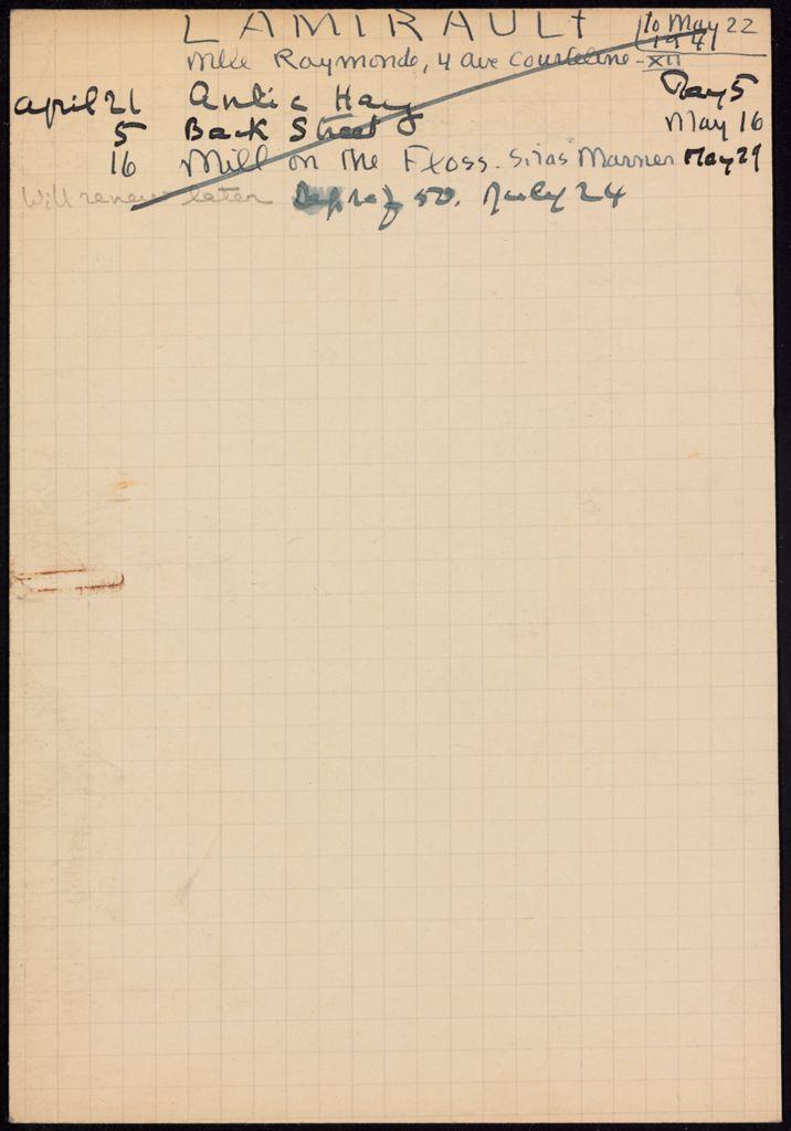 Raymonde Lamirault 1941 card (large view)