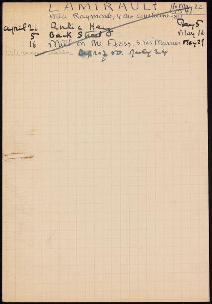 Raymonde Lamirault 1941 card