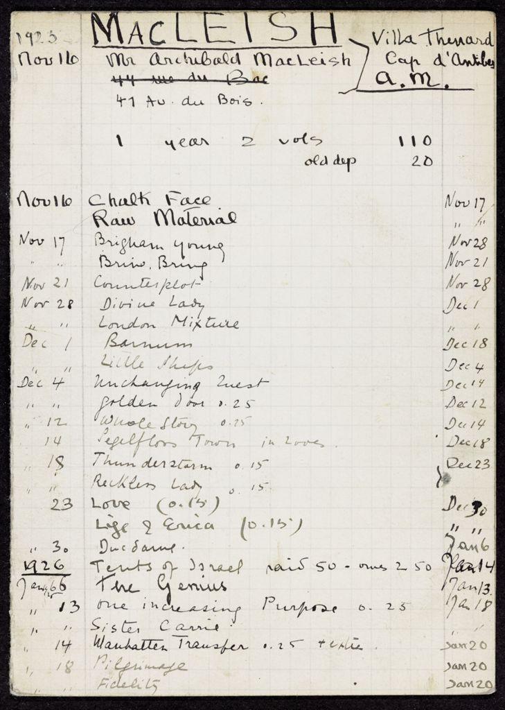 Ada MacLeish 1925 – 1926 card (large view)
