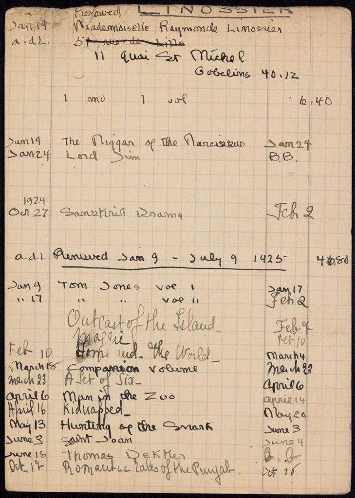 Raymonde Linossier 1923 – 1925 card (large view)