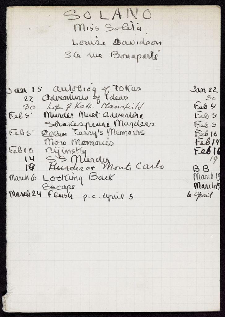 Solita Solano 1933 card (large view)