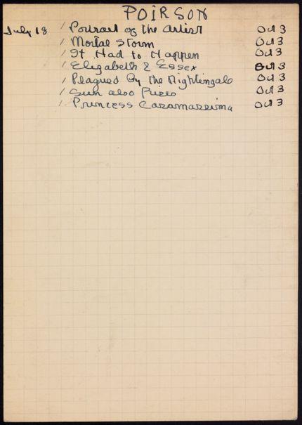 Christine Poirson 1939 card